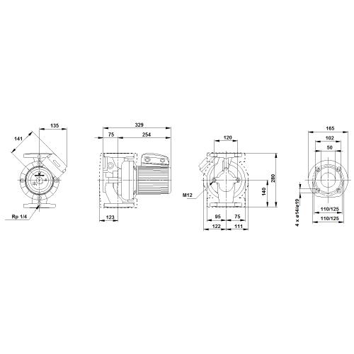 Габаритный чертеж насосов UPS 50-60/2 F